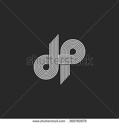 Mockup logo DP letter monogram, offset thin line style, overlapping design element, D and P pair symbol, linear emblem template - stock vector