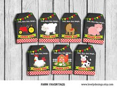 Farm Thank you Tags Farm Animals Gift Favors by TheLovelyDesigns