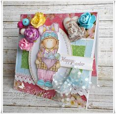 Suzi Mac Creations : Happy Easter!!! using hAngler sTangler stamps and pretty papers. #cards #crafts #Lemoncraft  #Easter #handmade #Flowers