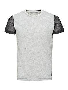 CORE by JACK & JONES - T-Shirt von CORE - Slim fit - Rundhalsausschnitt - Ärmel aus Netzstoff - Kleiner Markenlogo-Print aus Gummi hinten an der Schulter - Markenlogo-Patch am Saum 100% Baumwolle...
