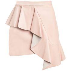 VENUS LEATHER RUFFLE MINI SKIRT (9.917.745 IDR) ❤ liked on Polyvore featuring skirts, mini skirts, leather miniskirt, frilly skirt, pink ruffle skirt and short skirt