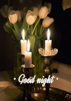Raindrops and Roses Good Night Greetings, Good Night Wishes, Good Night Sweet Dreams, Good Night Messages, Chandelier Bougie, Chandeliers, Romantic Candles, Beautiful Candles, White Candles