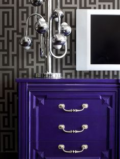 Looking for Gray Contemporary Living Space and Living Room ideas? Browse Gray Contemporary Living Space and Living Room images for decor, layout, furniture, and storage inspiration from HGTV. Beautiful Home Gardens, Beautiful Homes, Beautiful Bedrooms, Painted Furniture, Diy Furniture, Purple Furniture, Colorful Furniture, Purple Dresser, Colored Dresser