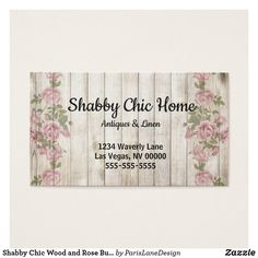 Shabby Chic Wood and Rose Business Card