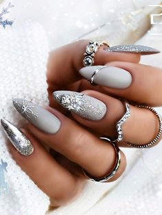 The Best Gray Nail Art Design Ideas The Best Gray Nail Art Design Ideas,Nageldesign Related posts:Best Nail Art 2019 To Try Now - - Nail Chic Winter Nail Designs For. New Year's Nails, Hot Nails, Hair And Nails, Grey Nail Art, Gray Nails, New Years Nail Designs, Nail Art Designs, Silver Nail Designs, Nails Design