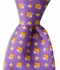 Reminds me of a college. Purple Necktie with Gold Fleur De Lis