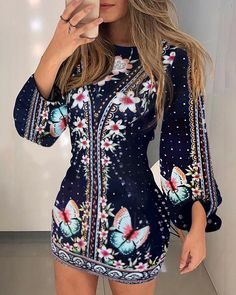 Bishop Sleeve Floral Butterfly Print Dress - - Bishop Sleeve Floral Butterfly Print Dress, Source by shopxnew Belted Shirt Dress, Tee Dress, Bodycon Dress, Dress Shoes, Shein Dress, Butterfly Print Dress, Moda Chic, Bishop Sleeve, Look Fashion