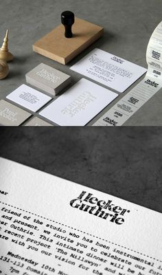 A great identity system for interior design studio Hecker Guthier, by Cornwell. The combo of textures, elegant type and distressing make it perfect.