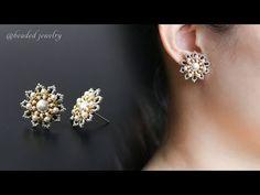 Party wear beaded stud earrings tutorial - YouTube