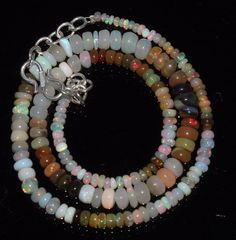 """45 CTW 2-6 MM 16""""NATURAL GENUINE ETHIOPIAN WELO FIRE OPAL BEADS NECKLACE-97602"""