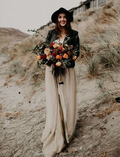 nude maxi skirt and leather jacket bride // elopement style