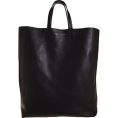 Celine CABAS LEATHER TOTE BLK   ❤ liked on Polyvore (see more genuine leather handbags)
