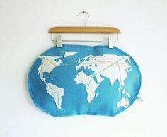 Metro world map pillow  felt pillow made to by atelierpompadour, €42,00