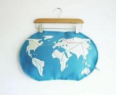 metro world map pillow