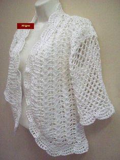 Bolero de crochê primavera/verão GG Diy Crochet Cardigan, Crochet Cardigan Pattern, Crochet Patterns, Crochet Cocoon, Free Crochet, Knit Crochet, Crocheting, Knitting, Sweaters
