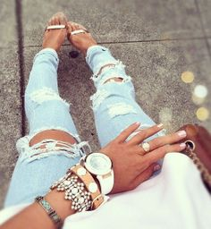 Ripped Jeans Statement Jewelry