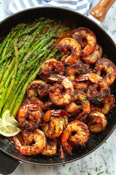 Blackened Shrimp and Asparagus Skillet - - These delicious blackened shrimp with asparagus are the perfect versatile and fast weeknight meal. - by recipes Blackened Shrimp and Asparagus Skillet Shrimp Recipes For Dinner, Fish Recipes, Seafood Recipes, Healthy Dinner Recipes, Chicken Recipes, Cooking Recipes, Fast Healthy Recipe, Healthy Dishes, Healthy Meals