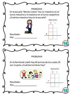 Problemas para I grado | Profe Yano Spanish Classroom Activities, Kindergarten Worksheets, Math 2, Math Class, Primary Maths, Primary School, Maila, Business For Kids, Math Lessons