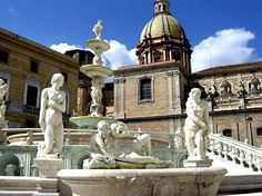 Fountain at Aristocratic Palazzo - Sicily