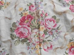 Vintage Country Farmhouse Cabbage Roses Fabric Curtain Drape Panels Lot x 3 by auctionsaletreasures on Etsy