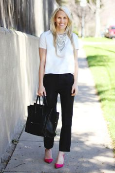 Suiting pants for the office all of a sudden don't seem so basic when styled with head-turning accessories or bright heels. If you want to add a bit more detail to the look, mix it with a printed or brightly colored top.