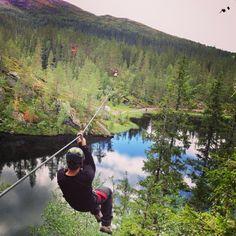 Me - trying the zilpine in Rypetoppen Adventurepark, #Meråker #centralnorway