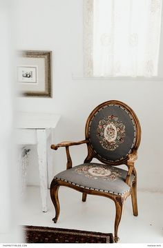 The upholstery of this wooden chair at The Richmond Café and Rooms, is adorned with an intricate floral pattern, which brings about an old-world look and feel. Furniture, Room, Interior, Interior Inspiration, Chair, Home Decor, Modern Victorian, Wooden Chair, Upholstery