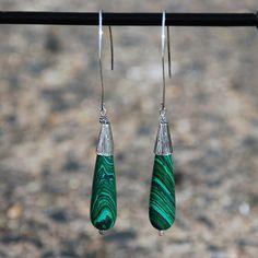 handmade malachite & sterling silver earrings. Malachite earrings sterling earrings teardrop malachite earrings teardrop sterling earring (40.00 USD) by KarmaKittyJewelry