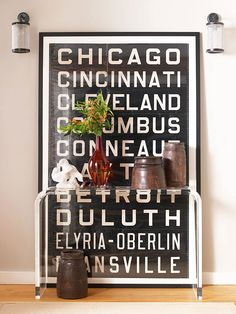 Oversized typography artwork adds a modern touch. Find 35 more blank wall solutions: http://www.bhg.com/decorating/home-accessories/wall-art/art-for-walls/?socsrc=bhgpin071612largetypographyart#page=2