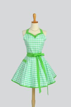 Sweetheart Retro Apron - Sexy Womens Apron Mint Green and White Large Gingham Check Cute Full Kitchen Apron via Etsy