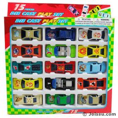 15 PIECE DIE CAST RACING CARS ASSORTMENT. Assorted colors. Each set window boxed. Perfect for party favors and Easter basket treats. Size 2.5 Inches, packaging 10 X 9.5 X 1 Inch