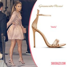 Jennifer Lopez in Gianvito Rossi Spring 2014 Venetia Metallic Leather Sandals - ShoeRazzi