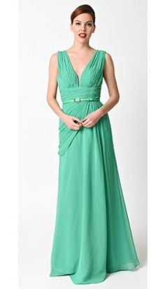 Preorder -  Green Belted Chiffon Long Dress For Prom 2017