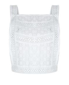 Cream Lace Embroidered Panel Pinafore Crop Top  | New Look