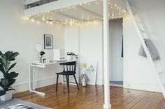 Studio apartment with string lights
