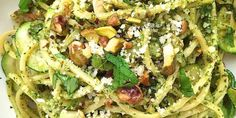 SPAGHETTI WITH ZUCCHINI AND PISTACHIO PESTO http://www.delish.com/cooking/recipe-ideas/recipes/a43369/spaghetti-zucchini-pistachio-pesto-recipe/