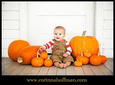 Baby picture with pumpkins for Thanksgiving. www.corinnahoffman.com