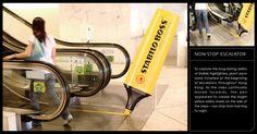 Reklamiranje firme Stabilo i proizvoda Boss markera: žuti marker piše po pokretnim stepenicama  Firma Stabilo www.stabilo.com/com je najveći svetski proizvođač markera kao dela pisaćeg pribora, najznačajnija fabrika za proizvodnju je smeštena u Weibenburg-u u Bayern-u, Nemačka.  Stabilo Boss marker je za sve one koji čitaju tekst i moraju da se koncentrišu na važne delove, pritome treba istaći efekat transparentnosti gde je taj obeleženi obojeni sloj providan i kroz  www.sajtoteka.com