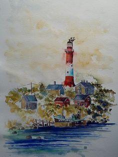 """Tankar Lighthouse"", watercolour on paper, 41x31cm, 2015"