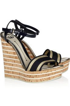 Gucci, Leather and cork wedge sandals