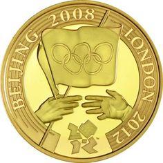 2 Pfund Gold Handover Olympiafahne Peking London PP