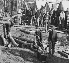 Union soldiers building winter quarters by Brendan C.H., via Flickr