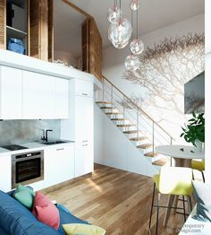 43 Awesome Tiny Apartment with Loft Space Ideas - Page 7 of 45 Condo Design, Tiny House Design, House Plan With Loft, Loft House, House Plans, Tiny Apartment Decorating, Tiny Apartments, Studio Apartments, Tiny Loft