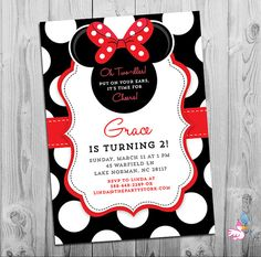 Free editable minnie mouse birthday invitations minnie mouse sba minnie mouse birthday invitations printable girls party invitation black white polka dots and red 2nd birthday oh twodles invitation filmwisefo