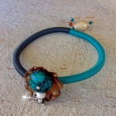 """Winter 2014 Jewelry collection, """"Colorful Jewellery"""" copper turquoise grey with turquoise freshwater pearls and sterling silver bracelet"""