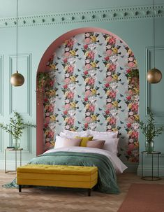 Home Interior Art Bloomin& gorgeous. Bloomsbury Neo Mint captures the delicate designs of the Century. Bright and vibrant, this floral wallpaper is a true showstopper! Mint Wallpaper, How To Hang Wallpaper, Home Wallpaper, Wallpaper Designs, Wallpaper Direct, Interior Design Wallpaper, Feature Wallpaper, Bedroom Wallpaper, Wallpaper Wallpapers