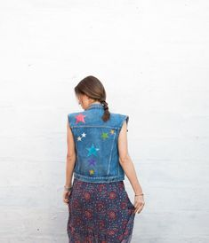 Painted Jeans, Hand Painted, Denim Vests, Jean Vest, Stars, Fabric, How To Wear, Jackets, Etsy