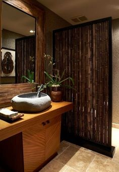 Asian inspired home interior design Guest bath with Asian design