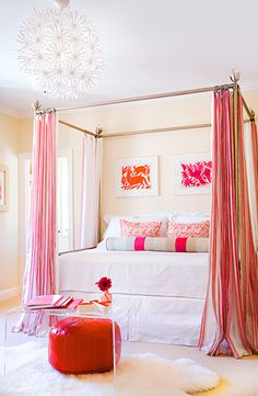 Never thought I would like brights in a bedroom but I like!  pink + orange + white bedroom