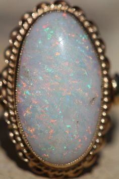 Antique 14k Yellow Gold Solid Australian Opal Ring Nice Play of Color | eBay